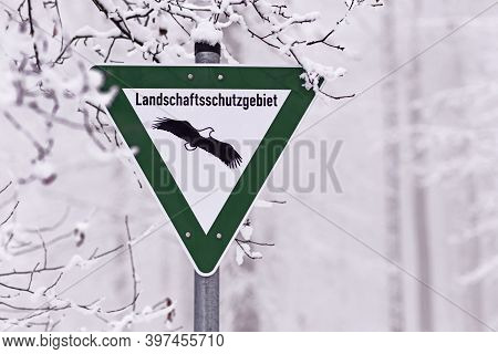 Green Sign With Eagle For German Nature Reserve, A Category Of Protected Area Within Germany's Feder