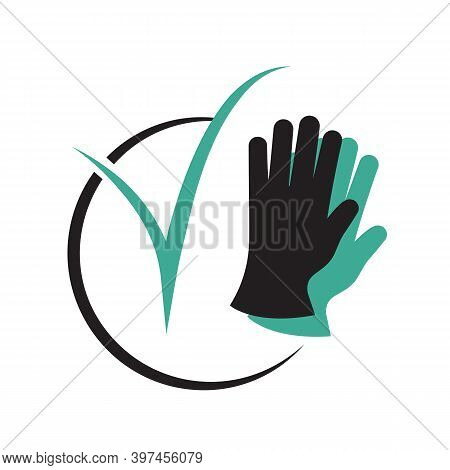 Protective Gloves And Checkmark Icon As A Symbol Of Bacterial Safety. Black Silhouette Icon. Vector