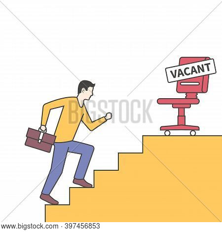 Vacant Concept. Businessman Looking For New Job. Vector Flat Design. Career Position. Climbing The C