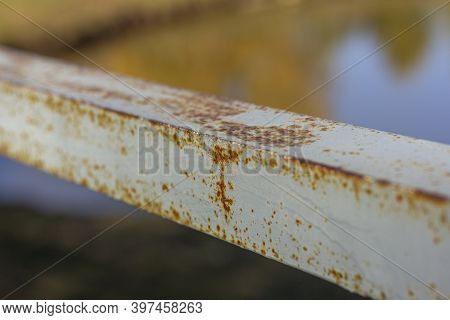 Rust And Corrosion On Iron Railings.corrosion Of Metals. Rust On Old Iron.