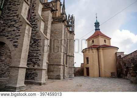 Medieval Stone St. Bartholomew´s Church In Kolin, Gothic Cathedral And Baroque Building Of Ossuary I