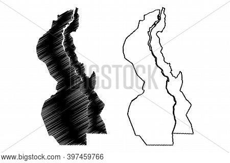 White Nile State (republic Of The Sudan, North Sudan) Map Vector Illustration, Scribble Sketch White