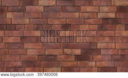An Old Red Brick Wall With Rough Cement Masonry Showing Through, Rough Bricks Worn By Time. Orange R