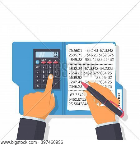 Calculation Concept. Businessman Working With A Folder For Calculations. Vector Flat Design. Isolate