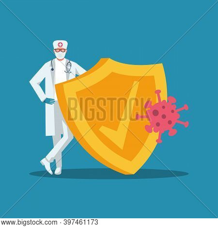 Doctor With Shield. Doctor In Antibacterial Protection, Rubber Gloves, Face Shield, Cap And Goggles.