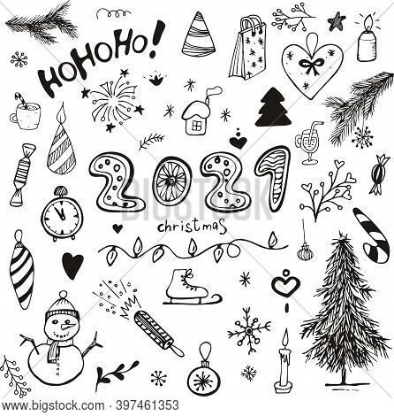 Set Hand-drawn Sketch Of Christmas Toys, Snowman, Snowflakes, Christmas Tree, Gifts, Fireworks. Vect