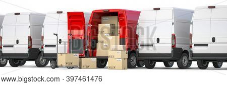 Red delivery van with open doors and hand truck with cardboard boxes iin a row of white vans. Delivery and shipping concept. 3d illustration
