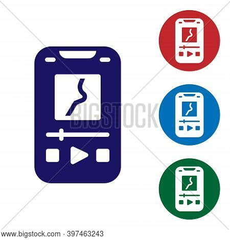 Blue Music Player Icon Isolated On White Background. Portable Music Device. Set Icons In Color Squar