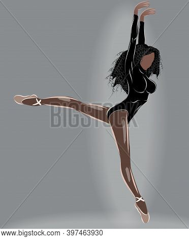 Black Haired Tanned Ballerina In Leotard And Beige Ballet Slippers Doing A Split Mid Air