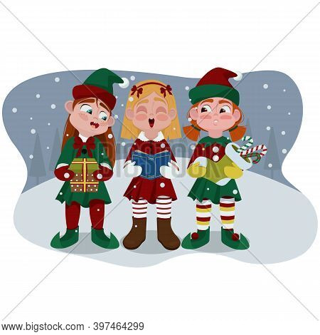 Three Little Girls In Christmas Costumes Sing A Song For Christmas