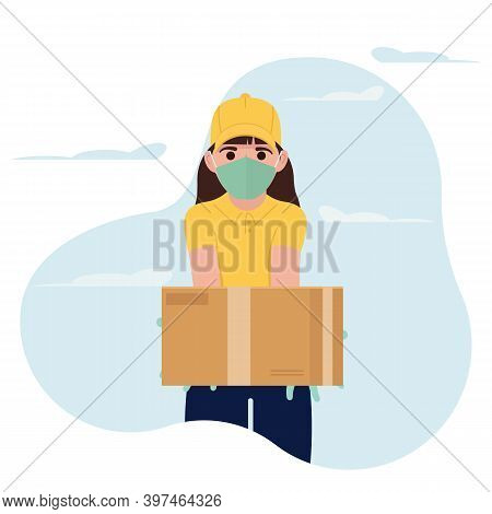 A Young Girl Brings A Courier Delivery. Safe Delivery