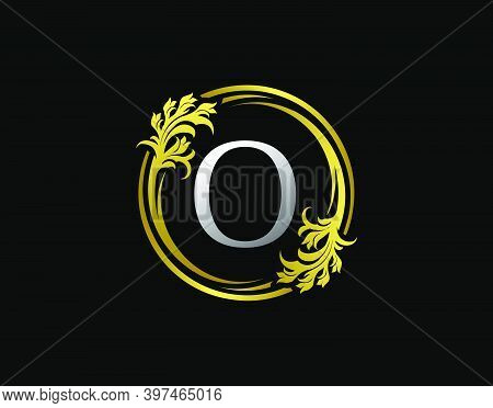 Luxury Circle O Letter Floral Logo. Royal Gold O Swirl Vector Icon.