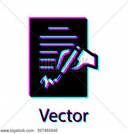 Black Petition Icon Isolated On White Background. Vector