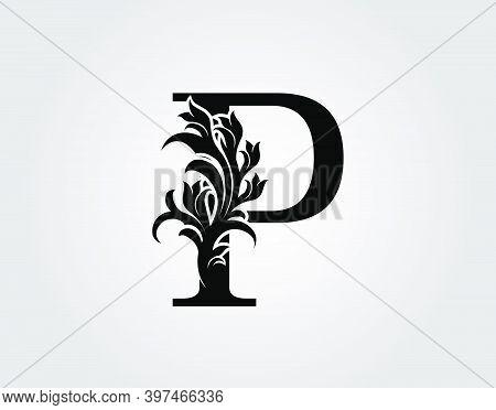 Monogram Letter P Luxury Logo Icon, Vintage Deco P Letter Vector Design.