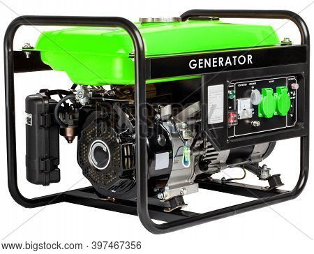 Portable Electric Ac Generator - Mobile Gasoline Generators, Isolated On White. Industrial And Home