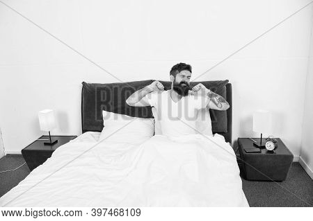 There Is No Place Like Home. Bearded Man Stretch In Bed. Sleepy Hipster Feel Safe At Home. Self Isol