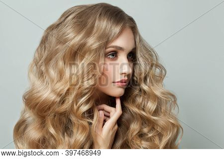 Beautiful Woman With Healthy Hair, Young Cute Face Close Up