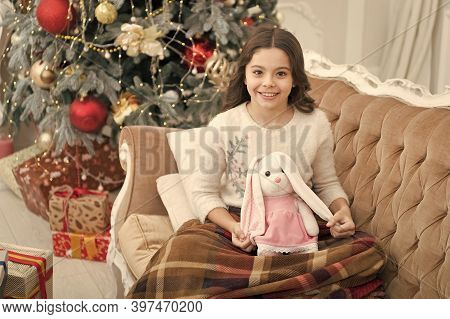 Simply Being Around. Cheerful Kid Play Toy At Christmas Tree. Feeling Cosy At Home. Happy New Year M