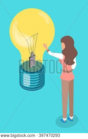Woman Touch Lamp Bulb. New Creative Idea Concept, Isometric Illustration, Solution Of Problem. Found