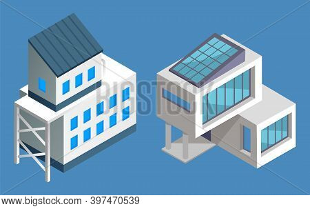 Isometric 3d Set Of Two Contemporary Buildings Isolated At Blue. House With Big Panoramic Windows An