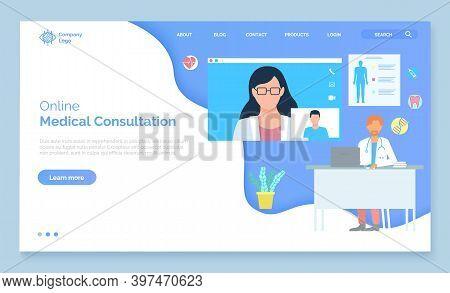 Landing Page Of Medical Website. Medical Services, Online Help, Medical Consultation, Support. Consu