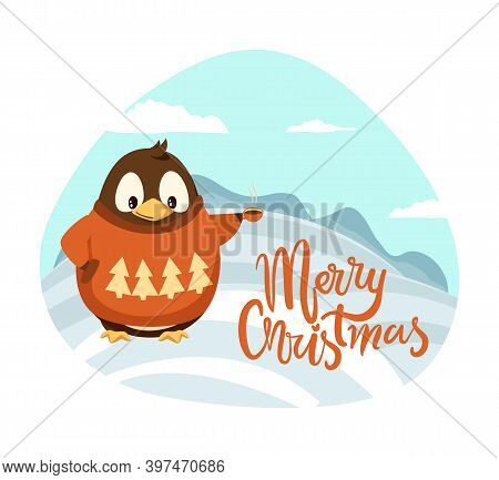 Merry Christmas Penguin With Cup Of Coffee Scenery Behind Vector. Animal Wearing Warm Knitted Sweate