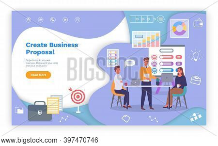 Business Proposal, Landing Page Of Business Website, Businesspeople, Teamwork, Colleagues Working, A