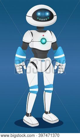 Futuristic Robot At Blue Background, Artificial Intelligence. Innovative Humanized Model Of Robot. R