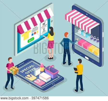 Online Shopping. Isometric 3d Digital Tablet, Smartphone With Online Shop. People Shoppers Choosing,
