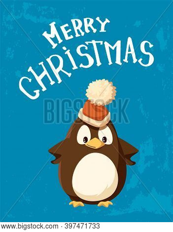 Penguin In Santa Hat With Big Bubo, Christmas Card. Bird In Festive Headdress, Greeting Sign Or Wish