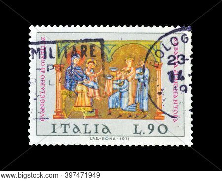 Italy - Circa 1971 : Cancelled Postage Stamp Printed By Italy, That Shows Religious Motive And Celeb