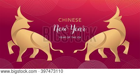 Chinese New Year 2021 Year Of The Ox, Chinese Zodiac Symbol Of Red Cow. Chinese Translation: Year Of