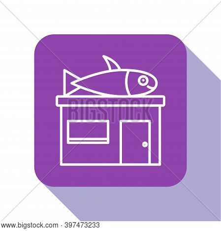 White Line Seafood Store Icon Isolated On White Background. Facade Of Seafood Market. Purple Square