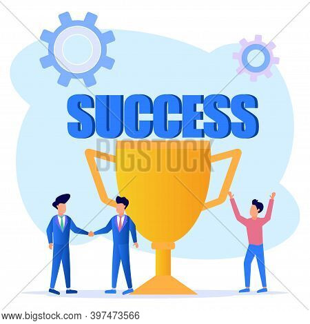 Vector Illustration Of Success Concept. The Cartoon Character Celebrates Success With A Giant Gold T
