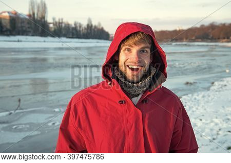 Exploration Of Polar Regions. Man Warm Jacket Clear Solid Ice Background. Winter Destinations. Safet