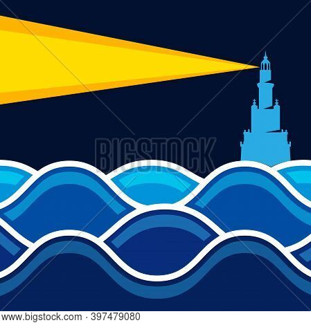 Lighthouse On The Sea. Illustration Of A Lighthouse At Sea In The Dark As A Signal Of Hope