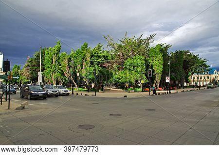Punta Arenas, Patagonia, Chile - 21 Dec 2019: Central Square In Punta Arenas, Patagonia, Chile