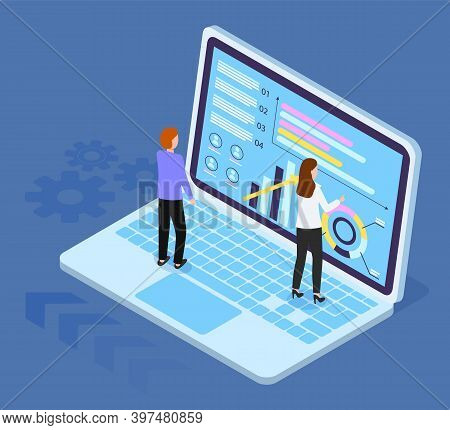 Isometric Laptop With Charts, Diagram, Infochart At Screen. 3d Growing Graphic. Teamwork Analysis. W