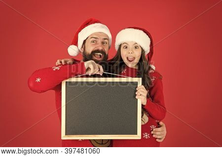 Christmas Check List. Father Daughter With Blackboard Copy Space. Get Ready For Holiday. Santa Claus