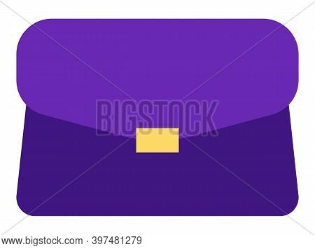 Handbag Or Woman Leather Sack Isolated. Vector Traveling Bag, Transportation Object In Purple Color.