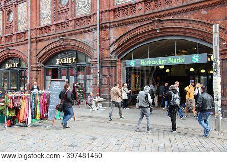 Berlin, Germany - August 27, 2014: People Visit Hackescher Markt Square In Berlin. 11.3 Million Gues
