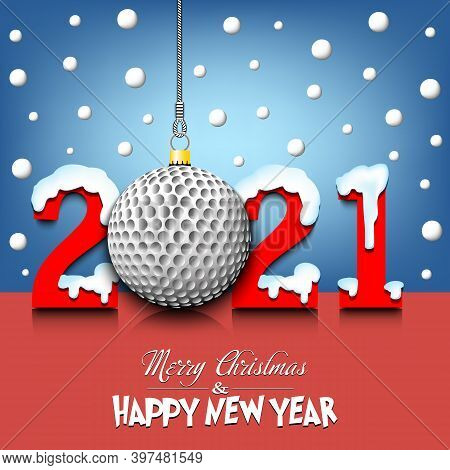Merry Christmas And Happy New Year. Number 2021 And Golf Ball As A Christmas Decorations Hanging On