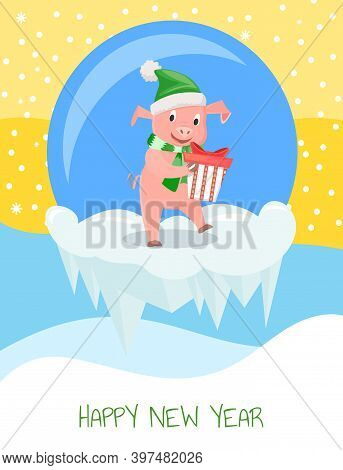 New Year Greeting Card, Pig In Hat And Scarf With Gift Box, Zodiac Symbol. Animal In Elf Costume, Do
