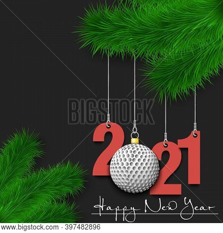 Happy New Year. Numbers 2021 And Golf Ball As A Christmas Decorations Hanging On A Christmas Tree Br