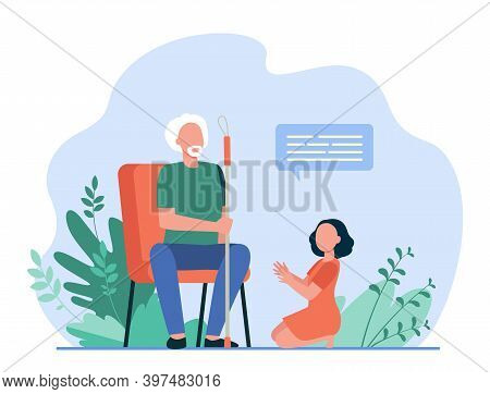 Little Girl Sitting On Floor And Speaking With Grandfather. Dialog, Grandchild, Elderly Flat Vector