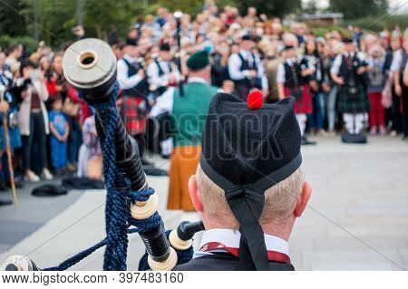The Headdress Of A Scottish Piper. Rear View.