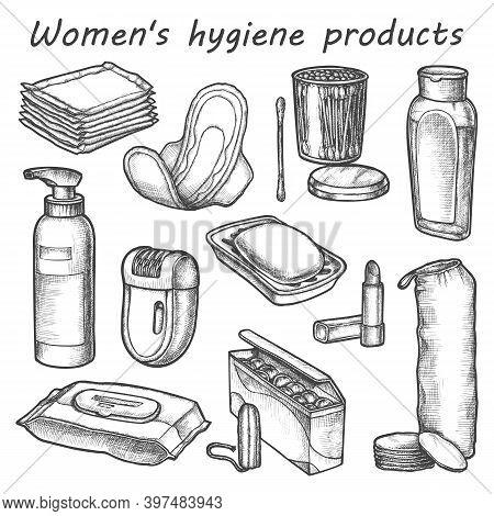 Woman Hygiene Products Vector Sketch. Bathroom Items