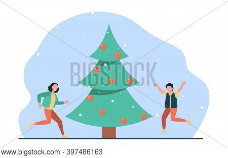 Happy Kids Jumping Near Christmas Tree. Children, Evergreen, Holiday Flat Vector Illustration. Celeb