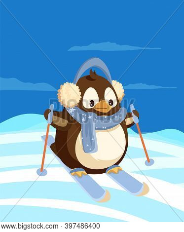 Penguin Skiing At Antarctica Among Snowdrifts. Arctic Bird On Skis In Earmuffs And Scarf, Ice And Bl