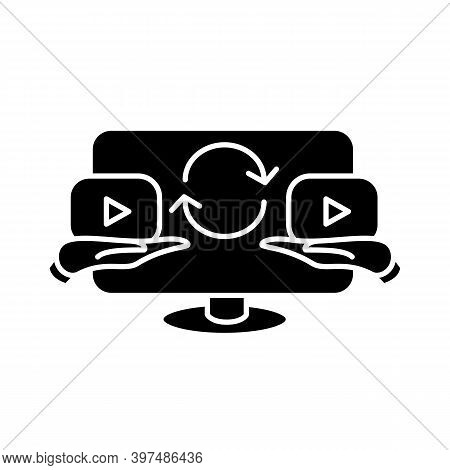 Video Sharing Glyph Icon. Filled Flat Sign Of User Share, Send And Repost Video Content On Social Me